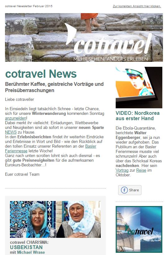 cotravel Newsletter Februar 2015