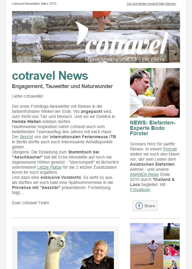 cotravel Newsletter März 2015