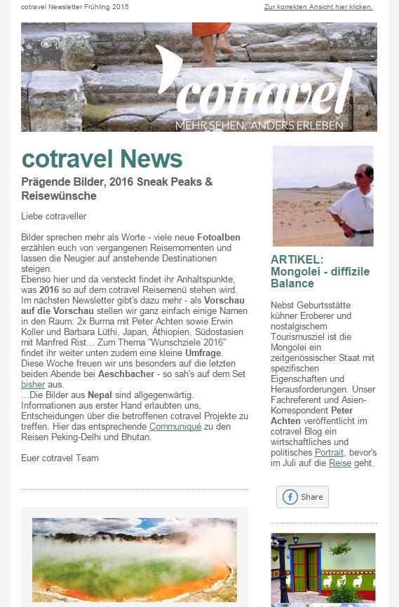 cotravel Newsletter Frühling 2015