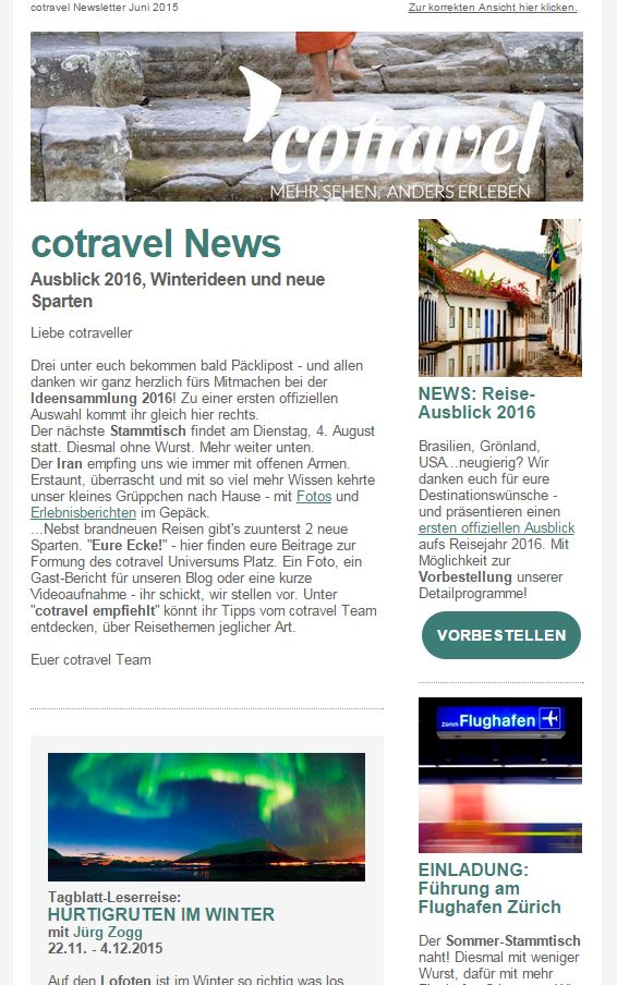 cotravel Newsletter Juni 2015