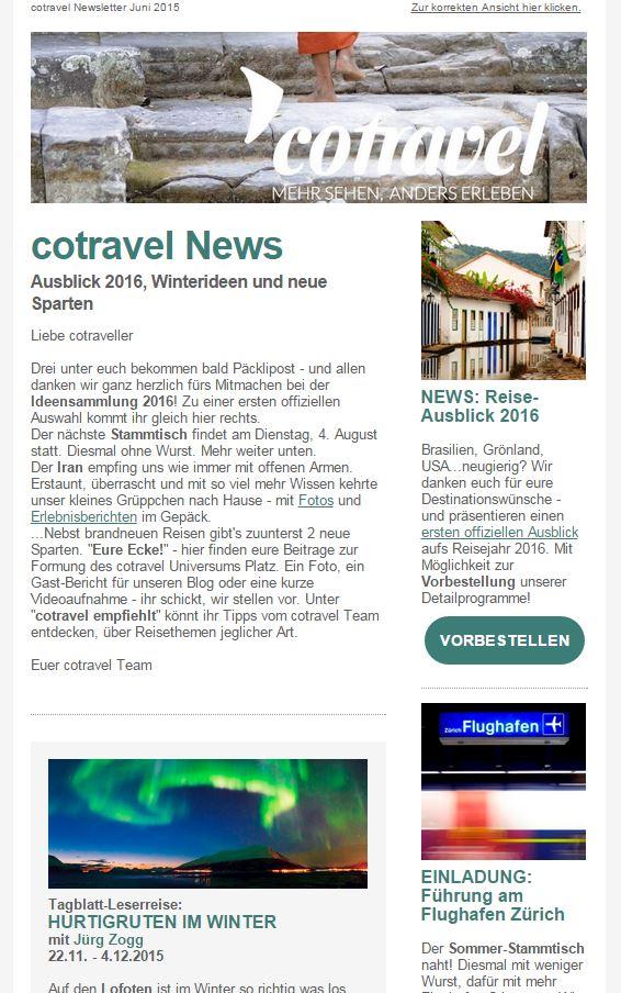 cotravel Newsletter Juni 2015