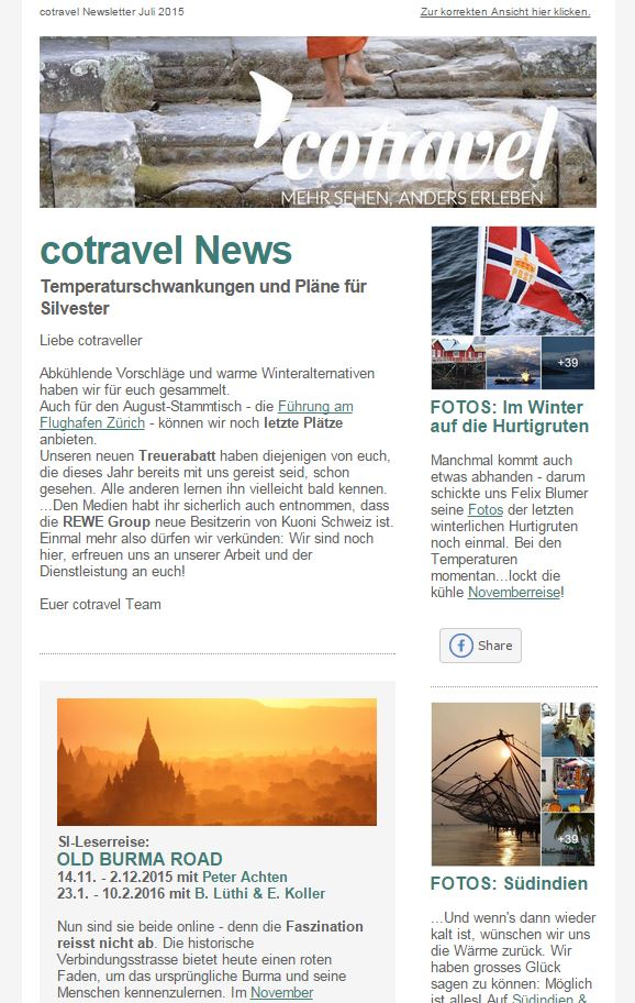 cotravel Newsletter Juli 2015
