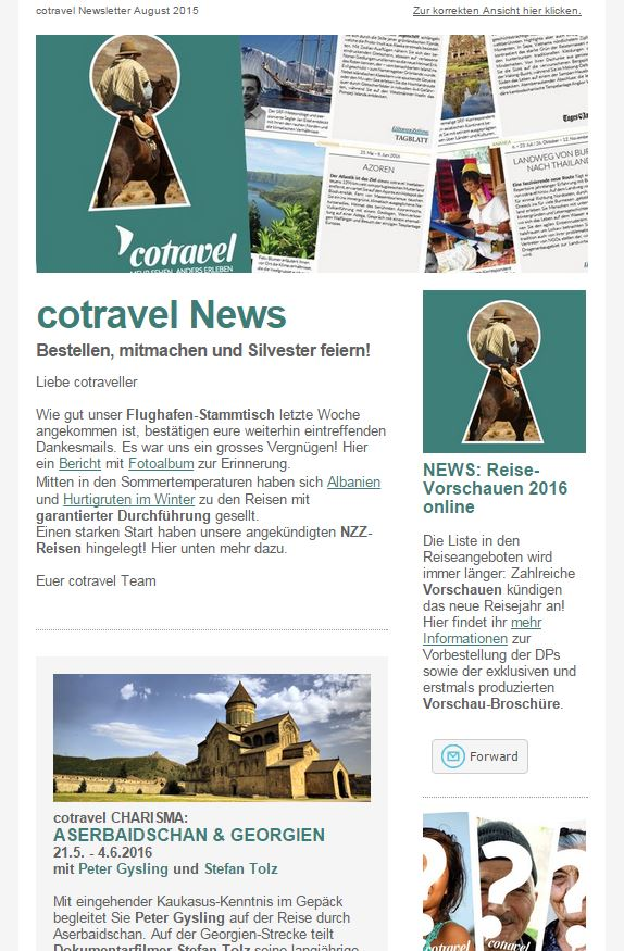 cotravel NEWSLETTER August 2015
