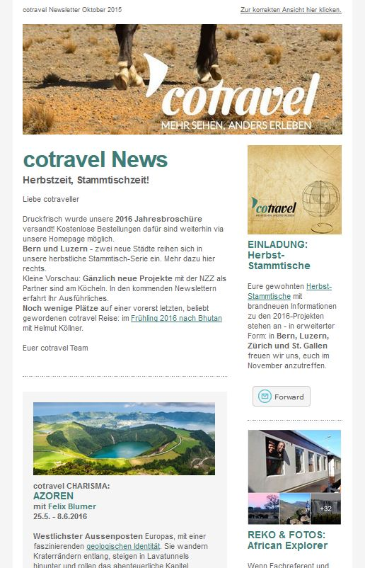 cotravel NEWSLETTER Oktober 2015
