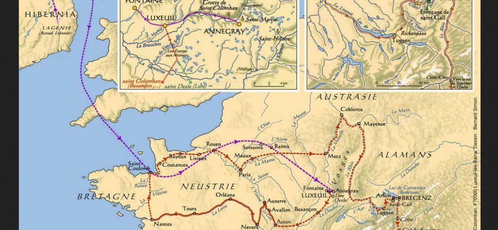 Reiseroute von Columban gemäss Illustration von Les Amis de St-Colomban_cotravel Reise-Blog Erwin Koller