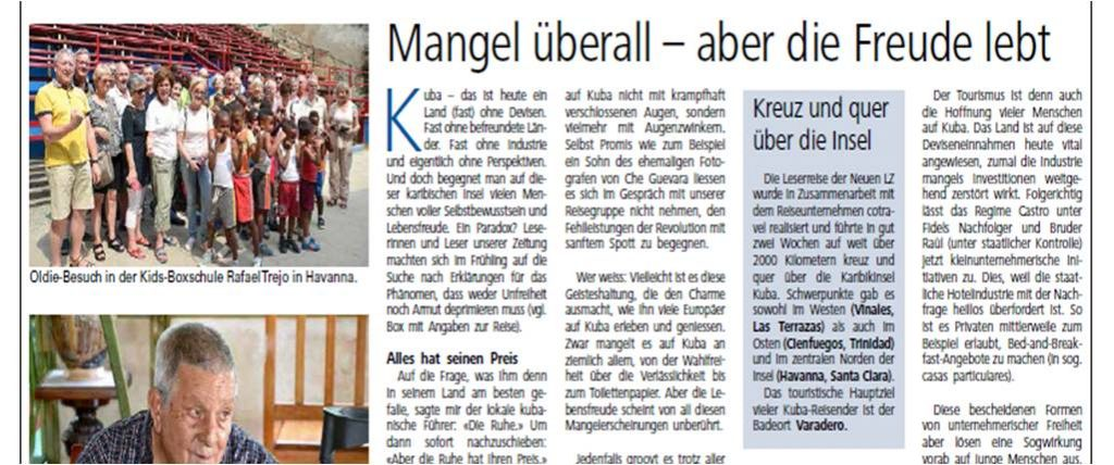 Neue Luzerner Zeitung_Namen und Notizen Kuba Leserreise Thomas Bornhauser Artikel