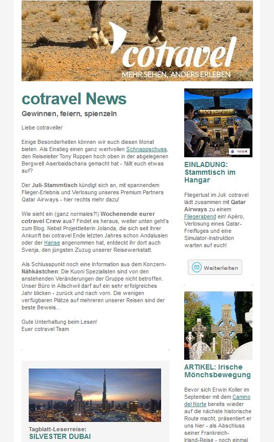 cotravel NEWSLETTER Juni 2016