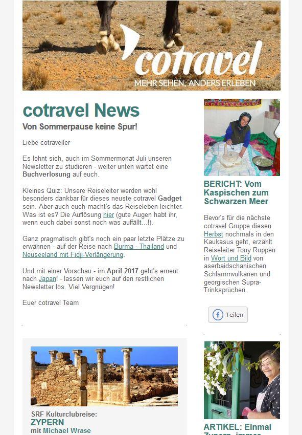 cotravel Newsletter Juli 2016_Von Sommerpause keine Spur